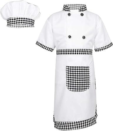 ranrann Disfraz de Cocinero para Niña Niño Cosplay Traje de Cocina 3Pcs Uniforme de Chef Camisa Delantal Gorro Disfraz de Halloween Fiesta Carnaval