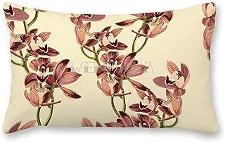 happygoluck1y - Fundas de cojín rectangulares para sofá, sofá, sofá, decoración del coche, diseño de orquídea marrón y beige