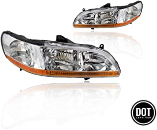 Replacement Headlight Assembly GHDAC98-A2 with Chrome Housing Amber Reflector for Honda Accord 1998-2002 Replace OE 33151-S84-A01 33151-S84-A02