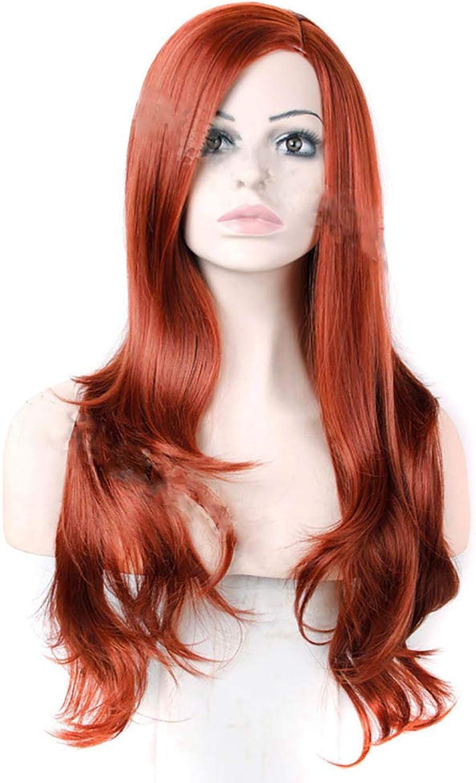 Ovesuxle Synthetisches Haar Orange Rot Lange Lockige Welle Haarperücken mit schrägen Teil Cosplay Tägliche Party Perücke (Farbe   Orange rot, Größe   30 ) B07N6GZS13 Schön    | Kostengünstig