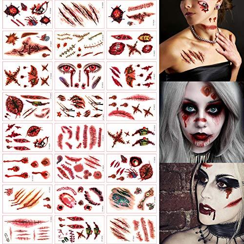 kungfu Mall Tatuajes temporales 24 Piezas Halloween Zombie Scars Heridas Tatuajes Pegatinas con Falsa costra Sangre Traje Especial Accesorios de Maquillaje