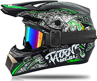 Motocross Helm, für Kinder, Rot, Schwarz, Integralhelm für Motorrad, Cross, MTB, mit Brille, Handschuhe, geeignet für Scooter und Fahrrad.
