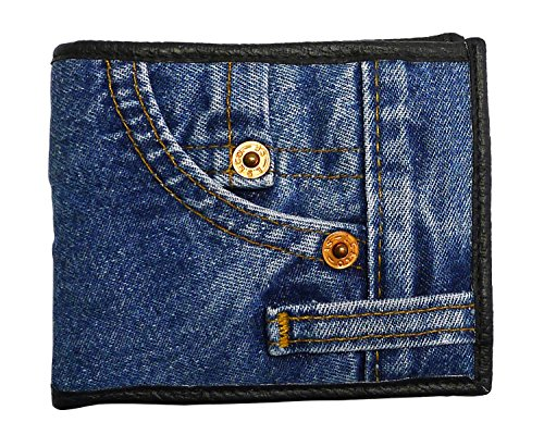 Bijoux De Ja Unisex Blue Denim Small Billfold Purse Wallet