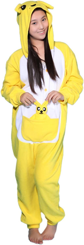Honeystore Unisex Adult One Piece Kangaroo Cosplay Animal Costume Pajamas
