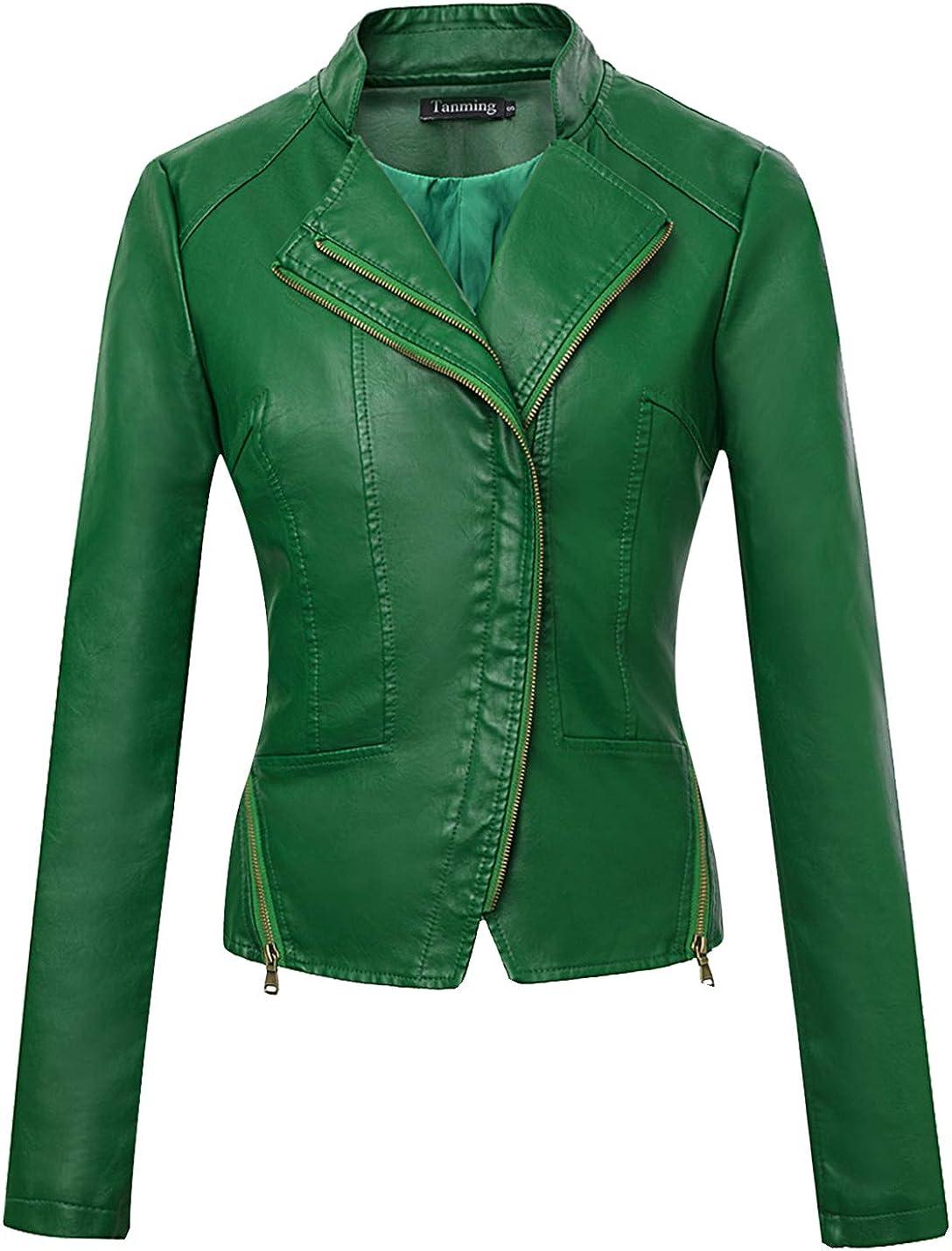 Tanming Women's Casual Moto Bomber Short PU Faux Leather Jacket Coat Outwear