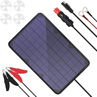 BigBlue 10W/18V Portable Solar Panel Trickle Charger with Cigarette Lighter Plug & Alligator Clip & O-Ring Terminal Cable, Solar Battery Maintainer for Automotive, Motorcycle, Boat, RV, etc.