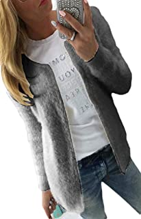 Womens Mohair Cardigan,Solid Knit Hooded Pocket Jacket Knitted Sweater Jacket