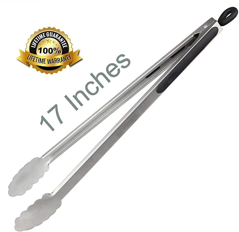 DAILY KISN Premium Stainless Steel Locking Grill Tongs 17 Inch Sturdy Heavy Duty Tong Set Great For Cooking Grilling And Barbecue BBQ