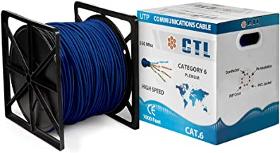 Cat6 Plenum BLUE Professional Cable 550mhz 1000ft UTP Solid Cmp-rated Bulk Cable