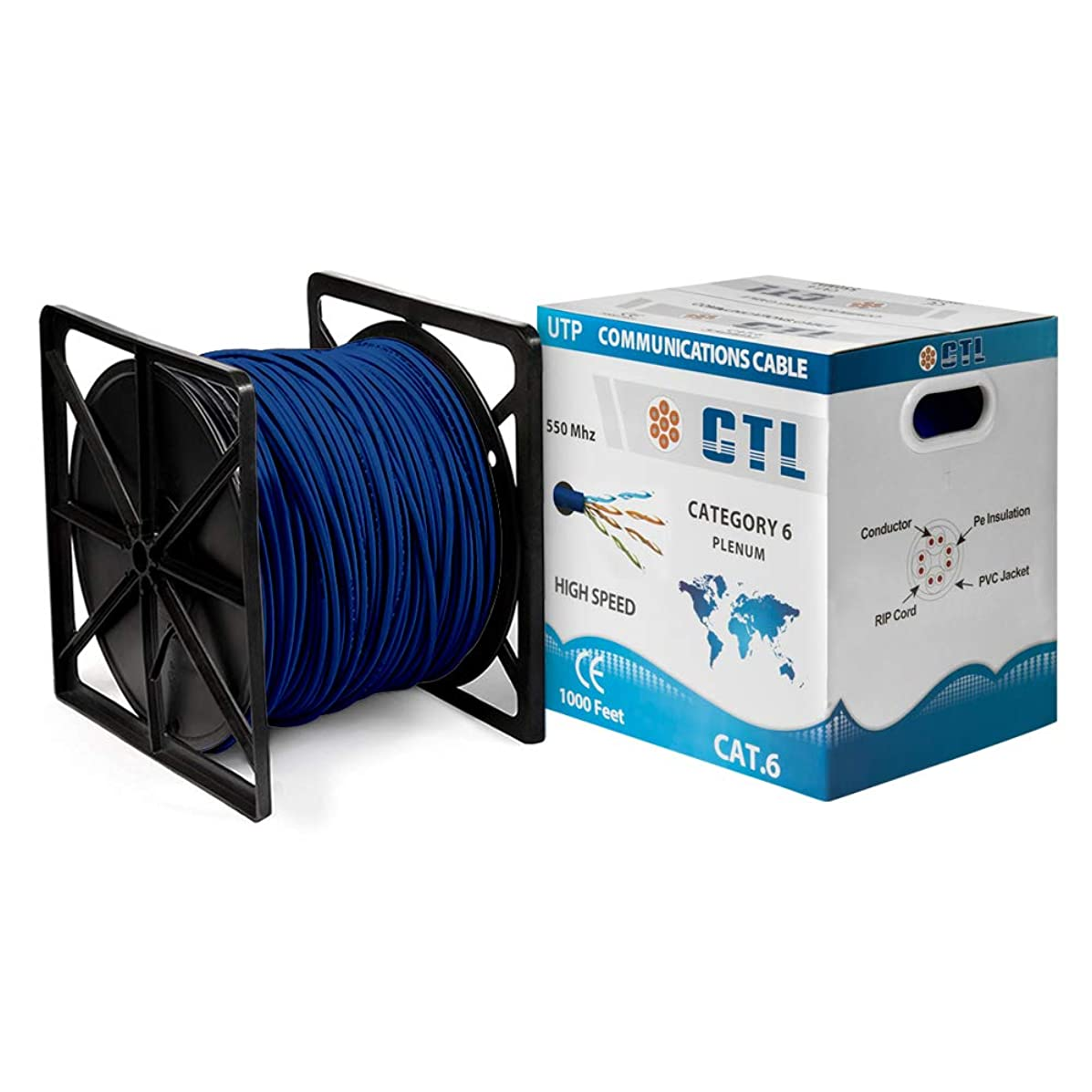 Cat6 Plenum BLUE Professional Cable 550mhz 1000ft UTP Solid Cmp-rated Bulk Cable