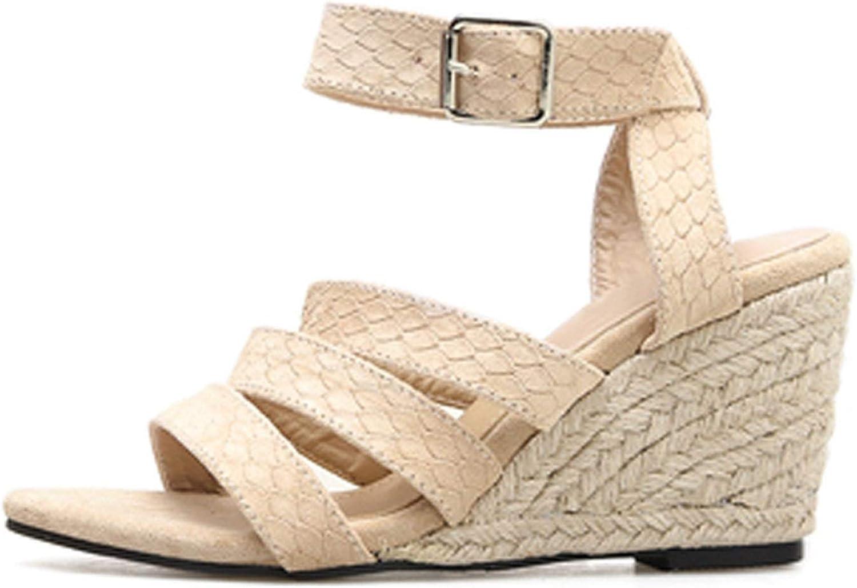HuangKang Wedges Casual Peep Toe Buckle Strap Chunky Heels High Heel 7Cm Summer Gladiator Women Sandals