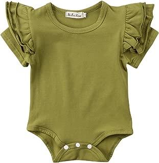 Baby Girl Basic Tassel Ruffles Short/Long Sleeve Organic Romper Bodysuit Jumpsuits Tops Clothes