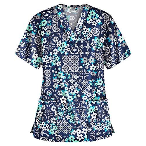 Schlupfkasack Damen V-Ausschnitt Krankenpflege Uniform mit Doppelt Taschen Pflege T-Shirt Bunt Gedruckt Motiv Nurse Kurzarm Top Gute Qualität Krankenhauskleidung Arbeitskleidung Schlupfhemd Kasack