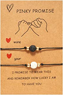 DESIMTION Pinky Promise Couple Bracelets for Boyfriend Girlfriend Gifts Long Distance Relationships Matching Bracelets for Him and Her