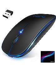 【2019最新版 7色ライト付き】 ワイヤレスマウス 無線マウス コンパクト 超薄型 静音 2.4GHz 800/1200/1600DPI 高精度 省エネモード 持ち運び便利 Mac/Windows/Surface/Microsoft Proに対応 (ブラック)
