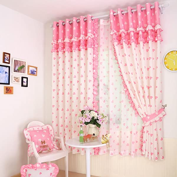 Pink Lace Girl Bedroom Window Curtains Kid Love Drapes Panel For Children Room Pricess Curtains Set Grommet 2 PCS 52 X 63 Inch