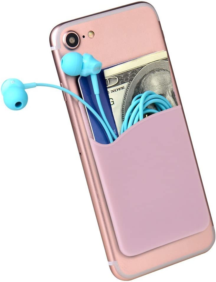 Asstar, Compatible Phone Card Holder Wallet, Silicone Adhesive ID Credit Card Stick on Holder Wallet Pouch Sleeve Pocket Replacement for Blu/iPhone/Samsung Galaxy/ Motorola/Nokia/Honor (3 Pack Pink)