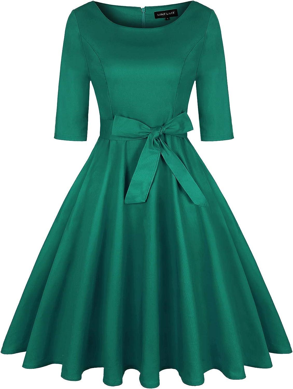 Women's 1950s Vintage Rockabilly Retro Dresses Belt Midi 3/4 Sleeve Party Cocktail Swing Dress Pockets