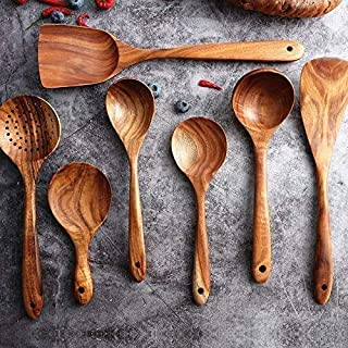 Wooden Cookware Set for Kitchen, Messon Handmade Natural Teak Cooking Spoon Wooden Spatula for Anti-Scorching Cookware7 Piece