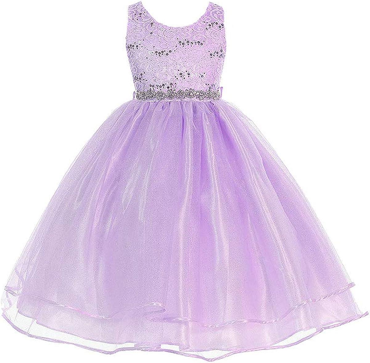 Audrey Bean Flower Lace w/Sequins Glitter Mesh Skirt & Belt
