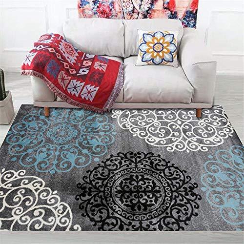 RUGYUW El Dormitorioes Moqueta Diseño de patrón de Estilo Retro Negro Blanco Azul Gris,Salón sofá Dormitorio Comedor Cocina baño Suelo algombra (4'3''X6'3''ft)