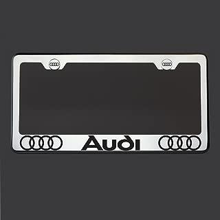 Black Lettering Laser Engraved Mirror Polish Stainless Steel Fit Audi License Plate Frame Holder Front Or Rear Bracket Steel Chrome Screw Cap