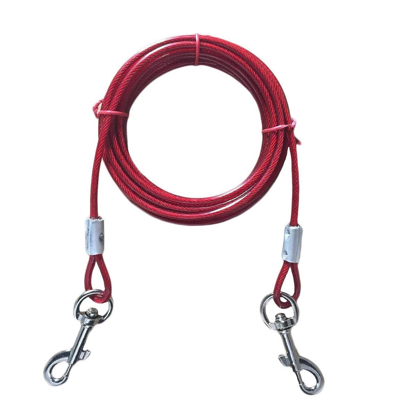 故障中移行有名SUYPITE 犬のつままれケーブル、二重ヘッド付きの鋼線ロープを引っ張る3M 5M 10M長 (レッド, 10M)