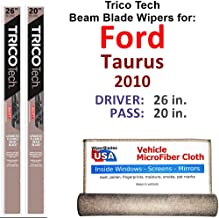 Beam Wiper Blades for 2010 Ford Taurus Driver & Passenger Trico Tech Beam Blades Wipers Set of 2 Bundled with Bonus MicroFiber Interior Car Cloth