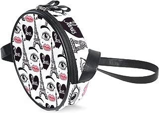 Kids Purse Shoulder Bag Handbag Paris Eiffel Tower Lips Makeup Eyes for Toddler Girls Boys