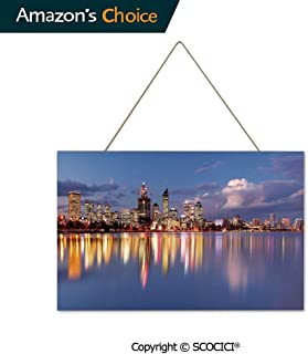 UHOO Gift Wooden Hanging Plaque Sign Skyline of Perth Western Australia at Night Dramatic Urban Swan River Wood Tag Hanging Ornament Decoration Home Tag Decoration 9.8