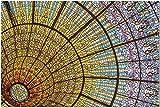 Techo de vidrieras coloridas e intrincadas del Palacio de la Música Catalana Rompecabezas de 1000 piezas para adultos