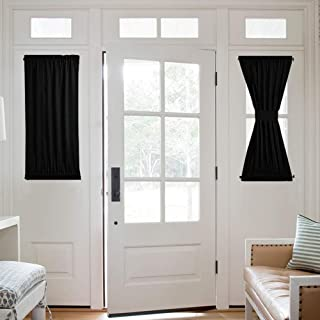 NICETOWN Blackout Sidelight Panel Curtain - Thermal Insulated Blackout Half Window French Door Curtain Blind Shade (1 Panel, 25W by 40L inches, Black)