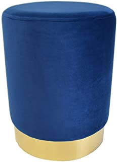 THE NIFTY NOOK Modern Blue Velvet Round Ottoman Stool with Stainless Steel Base - Upholstered, Contemporary, Home Decor