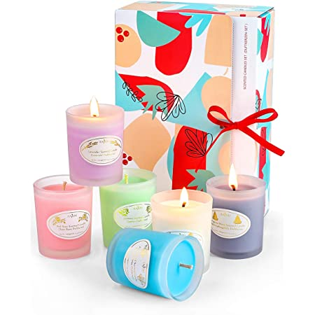 Scented Candles Gift Set, 6 Natural Soy Wax Aromatherapy Candle with Essential Oil for Stress Relief, Smoke-Free Strong Fragrance Long Lasting for Bath Home Decor,Valentines Day