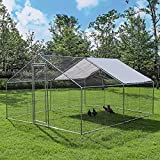 Chicken Coop, Large Metal Chicken Coop Walk in Poultry Cage Hen Run House Rabbits Cage with Waterproof & Anti-UV Cover, Galvanized Steel Coops for Outdoor Backyard Farm Garden (9.8' x 13.1' x 6.5' )