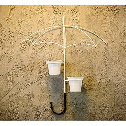 Stand d'usine Support de fleur de fer américain Mur Mont rural Umbrella type Décoration murale 3 couleurs en option Étagère à fleurs à plusieurs niveaux (Couleur : Blanc, taille : 53 * 63)