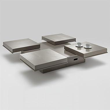 IDIMEX Table Basse Extensible Acapulco Table d'appoint carrée Fonctionnelle avec 1 tiroir, Table de Salon avec 4 Plateaux cou