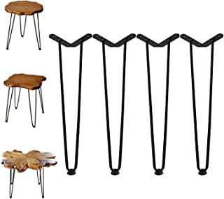 """Best Welland 19"""" Satin Black Hairpin Metal Legs 1/2"""" Diameter Set of 4 with Free Screws Use to Home DIY Projects for Furniture Review"""