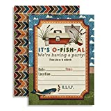 Fishing Themed Birthday Party Celebration Invitations for Boys, 20 5'x7' Fill In Cards with Twenty White Envelopes by AmandaCreation