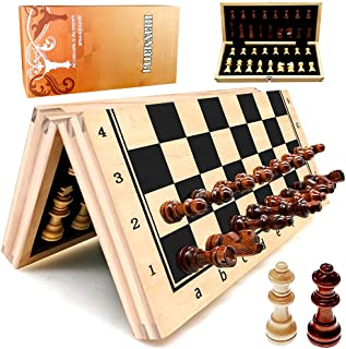 """Wooden Magnetic Chess Set, YJZ 12"""" Chess Board Portable for Folding, Travel Chess Sets for Adults, Including Extra 2 Queen..."""