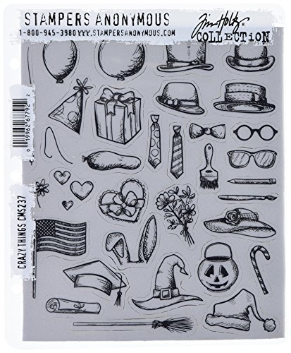 """Tim Holtz Cling Stamps 7""""X8.5"""", Crazy Things  """