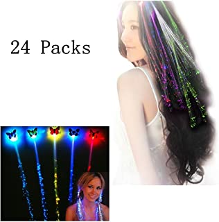 eLUUGIE 24 Packs LED Hair Light Up Hair for Halloween Party Favors Party Supplies, Light Up Toys with Flashing Hair Fiber Optic Extension Barrettes