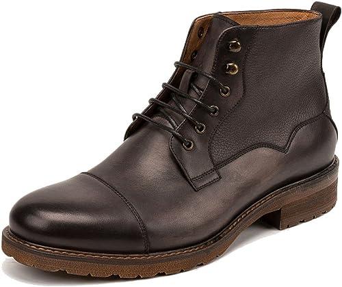 ZPJSZ hombres Casual Botines Moda Juventud Inglaterra Vintage Encaje botas De Cuero