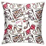 DHNKW Throw Pillow Case Cushion Cover,Feminine Shoes Lipstic Perfume Accessory Fancy Items For Beauty Pattern Image ,18x18 Inches