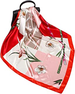 Fashion Ladies Silk Scarf 90cm Flower Professional Scarf for Holiday Sunscreen Big Square Towel (Color : 04, Size : 90 * 90cm)