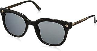 Foster Grant Women's Jet Set 1 Square Sunglasses, Black/Smoke, 50 mm