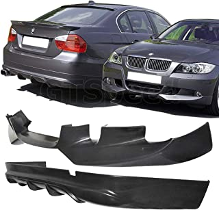 GT-Speed 2X Combo for 2006-2008 BMW E90 4-Door Sedan Only 3-Series AC Style Front + Rear Diffuser PU Bumper add-on Lip (Not Compatible with 2-Door Coupe)