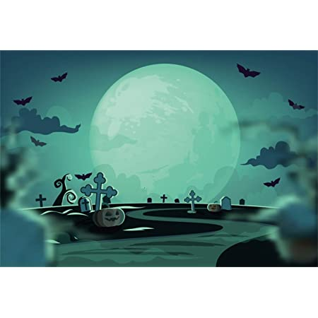 Yeele Halloween Backdrop Haunted House in Full Moon Night Photography Background 5x3ft Halloween Party Events Kids Acting Show Artistic Portrait Photoshoot Studio Props Wallpaper