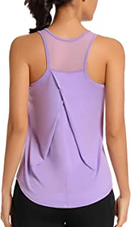 Workout Tank Tops for Women Activewear Gym Exercise Training Shirts Athletic Yoga Tops Racerback Mesh Sports Shirts