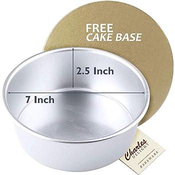 Aluminium Cake Mould (7 inches x 2.5 inches) + Free Cake Base